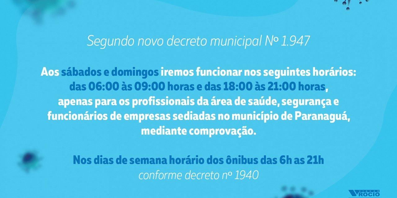 NOVOS HORÁRIOS FINAL DE SEMANA – DECRETOS 1940 E 1947/20